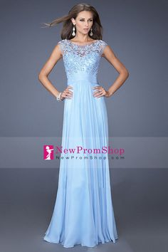 2014 Glorious Bateau Prom Dress Floor-length Chiffon &Lace with  Applique and Ruffle