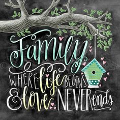Family Where Life Begins And Love Never Ends Chalk Art