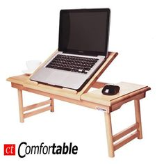 Songmics 100% Portable Bamboo Foldable Laptop Desk Notebook Tray Table Bed Table with Drawer LLD002