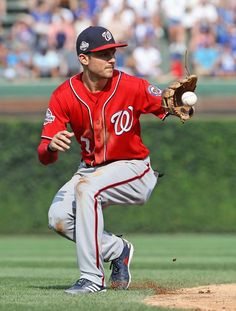 Trea Turner Photos - Trea Turner of the Washington Nationals fields a ball hit by David Bote of the Chicago Cubs in the inning at Wrigley Field on August 2018 in Chicago, Illinois. Interesting Photos, Cool Photos, Washington Nationals Baseball, Cody Bellinger, San Diego Padres, Pittsburgh Pirates, Dodgers, Chicago Cubs, Athletes