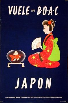 BOAC (British Overseas Airways Corporation) - Japan - vintage travel poster