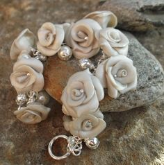 Pearl Rose Polymer Clay Bracelet