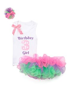 Look what I found on #zulily! White & Purple 'Birthday Girl 3' Tank Set - Toddler & Girls #zulilyfinds