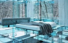 Carlo Santambrogio, architect / Enio Arosio, designer / Glass House, Italy, 2011...O reflexo do exterior!