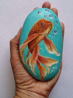 Hand Painted Golden Fish on Rock Painted Fish on Stone