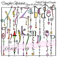 Dangles Alphabet Upper & Lower Case is a downloadable set of 104 original clip art images. There are two complete alphabet sets, one with dangles and one without. These illustrations were created by hand in a fun and whimsical style using bright watercolor, pencil, and marker; then enhanced on the computer.  File Type: PNG (with transparent background) Resolution: high resolution, 400 dpi File Size: 18.75 MB File Size: 6.81 MB  SHIPPING: There will be NO physical product, this is a digital…