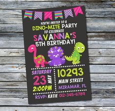 Dinosaur Invitation / Girls Dinosaur by DaisyBooDesignStudio