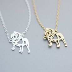 (1pc/lot) Hot Sale Fashion Jewelry Pug Pendant Necklace Gold Sliver Chain Long Statement Necklace Animal Choker Necklaces For Women