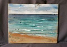 Beach Painting Pallet Art Hand painted by TheWhiteBirchStudio Pallet Wall Decor, Wood Pallet Art, Pallet Painting, Wood Pallets, Painting On Wood, Art Mural Palette, Plage Art Mural, Art Sculpture, Beach Wall Art