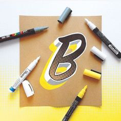 """""""B"""" halftone experiments with paint markers by @jamesllewis by goodtype"""