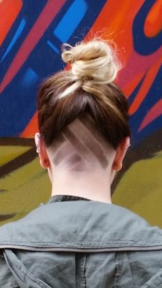 Women's undercut and fade. Girl head shaved. Brown ombré: