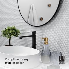 Umbra Hubba Wall Mirror | Shop Modern Round Mirrors Large Round Wall Mirror, Round Mirrors, Mirror Shop, Bathroom Wall Decor, Washroom, Things That Bounce, Modern, Trendy Tree, Wash Room