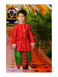 cute baby boy outfit with bandhini print pattern Kids Party Wear Dresses, Kids Dress Wear, Dresses Kids Girl, Baby Dresses, Kids Indian Wear, Kids Ethnic Wear, Baby Boy Ethnic Wear, Mom And Son Outfits, Kids Outfits
