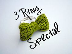 3 Ring Special - You Choose Any 3 Bow Tie Rings by HookedonArtsNCrafts on Etsy