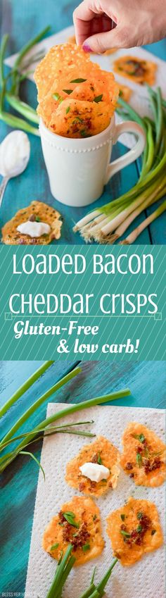 Loaded bacon cheddar crisps are the perfect baked party food! Combine cheddar, bacon, garlic, & green onion into a gluten-free & low-carb snack that takes just minutes to make! Side Dish Recipes, Low Carb Recipes, Healthy Recipes, Appetizer Recipes, Snack Recipes, Cooking Recipes, Quick Appetizers, All You Need Is, Crack Crackers
