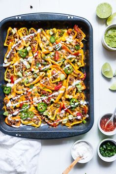 """People sometimes fuss at me about recipe names, like this one: Mexican Mini Bell Pepper Nachos. Of course, I know they're not really """"nachos!"""" And of course, I know that if you tried to pass these off as such, your carb-eating friends would ridicule the effort. But authors often name their recipes according to their inspiration and I am not going to rename every recipe. So, Mexican Mini Bell Pepper NACHOS it is! ~Dix   Whatever you want to call it, here's hot to make it: http://tasty.."""