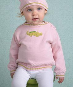 Look what I found on #zulily! Pink Alligator Hand-Knit Sweater - Infant, Toddler & Girls #zulilyfinds