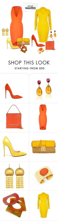 River Island Yellow Ribbed Bodycon Dress and Orange Plunge Dress by cheryl-williams-286 ❤ liked on Polyvore featuring Christian Louboutin, Goshwara, Jil Sander, River Island, MICHAEL Michael Kors, Gurhan, Diane Von Furstenberg and Yves Saint Laurent