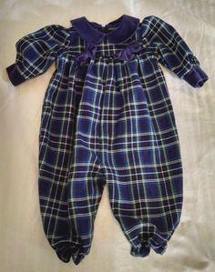 Good Lad Baby Girl Bubble Romper 6-9M Navy Blue Plaid Dressy Holiday Velour Trim #GoodLad #DressyHoliday