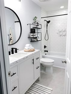 Hallway Bathroom Facelift - Champagne Chaos Upstairs Bathrooms, Downstairs Bathroom, Bathroom Renos, Remodel Bathroom, Budget Bathroom, Bathroom Furniture, Bathroom Ideas White, Basement Bathroom Ideas, Bathroom Plants