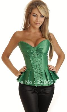 0fa2e64d7e1 Strapless Green corset with pleated flare bottom lace up back for cinching  and matching thong.