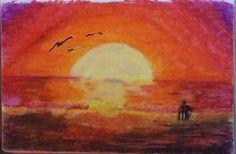 Sunset Walk by Darla Vaughan Original Oil Pastel Fine Art Painting Sunset Drawing Seascape Ocean Sunsets Ocean Inspirations Birds tranquil by LoveStreetUSA on Etsy