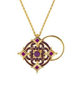 Look at this Purple & Gold Divine Charmed Life Magnifying Pendent Necklace on #zulily today!