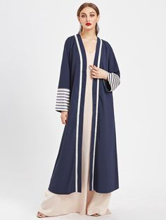 SheIn offers Contrast Striped Cuff Longline Abaya & more to fit your fashionable needs. Abaya Fashion, Muslim Fashion, Modest Fashion, Fashion Outfits, Cardigan Fashion, Mode Abaya, Mode Hijab, Modest Wear, Modest Dresses