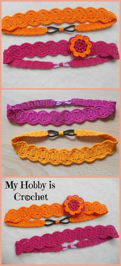 Crochet headband pattern-- I love the way this was finished with a hairpiece.  It could be good for kids