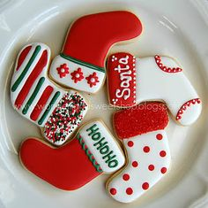 32 ideas for cookies sugar christmas baking Christmas Sugar Cookies, Christmas Sweets, Christmas Cooking, Noel Christmas, Holiday Cookies, Holiday Treats, Christmas Stocking Cookies, Christmas Decorations, Christmas Stockings