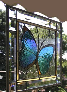 "Blue Morpho Butterfly Framed 13.5"" x 13.5"" Stained Glass Window"