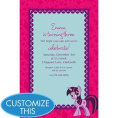 My Little Pony Custom Invitation