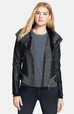 GUESS Faux Fur Collar Mixed Media Jacket available at #Nordstrom