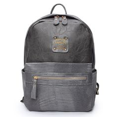 Item Type:Backpack   Color:Light Gray,Dark Gray,Black   Material:PU Leather    Weight:541  g     Length: 26cm(10.24'')  Height:   32cm(12.60'')   Width:  11cm(4.33'')   Pattern:Solid   Closure:  Zipper                                                          Package Included:   1 * Bag