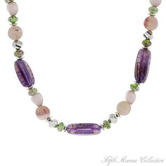 """This fresh picked """"Bouquet of Violets"""" is alive with color and features natural amethyst, green agate and rose plum beads separated by silvery roundels to express summer for all seasons."""