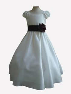 $31.99 Amazon.com: Classykidzshop Ivory Taffetta Wedding Flower Girl Dress with Colorful Sash: Clothing