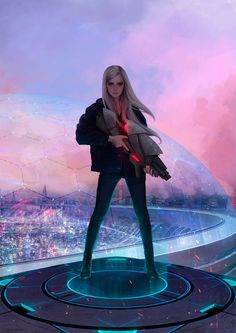 I like how the style of this character is realistic yet simple. The background suggests it is futuristic, and yet the character's choice of clothing is very modern and simple (although the gun in her hands is an exception to this). The weapon also contrasts with the main colour scheme of the character. This style would be suitable for the main protagonist : realistic and simple with futuristic elements.