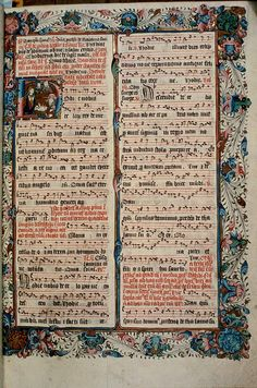 A page showing passages from the Mass of the Nativity set to music, from the Ranworth Antiphonal of Renaissance Music, Medieval Music, Medieval Books, Medieval Art, Music Manuscript, Medieval Manuscript, Illuminated Manuscript, Calligraphy Types, Beautiful Calligraphy