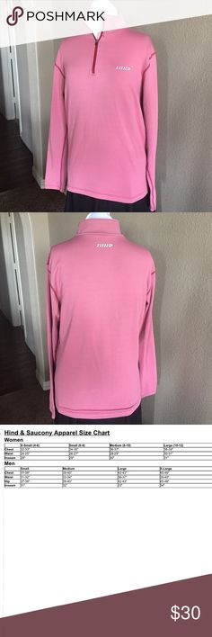 "Hind Running/Athletic Long Sleeve Shirt Quarter-zip. Straight cut. Rose colored long sleeve athletic shirt with darker rose stitching. No size tag, so please make sure approximate measurements below work for you. Some fading and wear. Will take into account when accepting offers.   Approximate Measurements (unstretched):  Bust - 40"" Shoulder width - 17"" Length - 25"" Hind Tops"