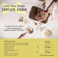 A classic French lemon cake measured by yoghurt pottle. Tres Bon! Make this recipe. 55 mins – Serves 12