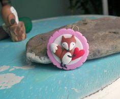 Polymer clay fox with heart charm