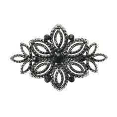 Black Crystal Flower Hair Clip
