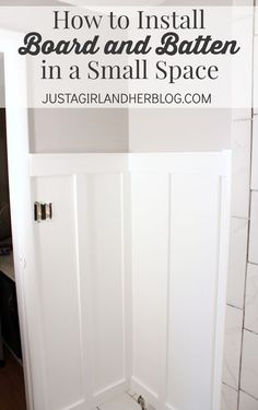Very clear, detailed tutorial on installing board and batten, particularly in a small space! Must try! | JustAGirlAndHerBlog.com