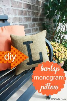 DIY Burlap Pillow. Decorate your front porch & enhance your cut appeal. Create for holidays like Halloween, Christmas, Easter & Valentines Day.