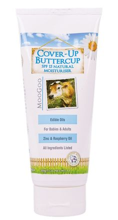 MooGoo Cover-Up Buttercup Natural Moisturiser with SPF 15 200g. Great for kids skin. Takes a while to rub in, but worth it.  Kids love the scent too!