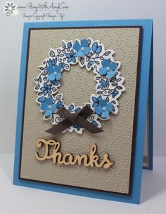 hand crafted thank you card : Circle Of Spring from Stamp With Amy K ... luv the little punched flowers added to the top ...