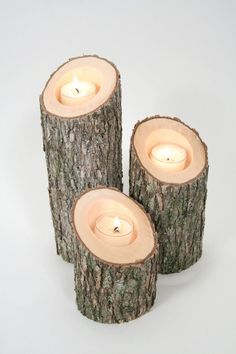 Tree Branch Candle Holders IV- Rustic Wood Candle Holders, Tree Slice, Wooden Candle Holders, Wedding Centerpiece. $18.50, via Etsy.