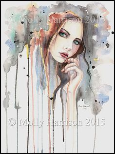 Attitude - Fine Art Print - Watercolor - Fantasy Abstract Modern Art Portrait of Woman - 9 x 12 Giclee