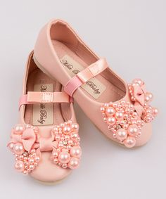 Look at this Mia Belle Baby Pink Pearl Bow Ballet Flat on #zulily today!