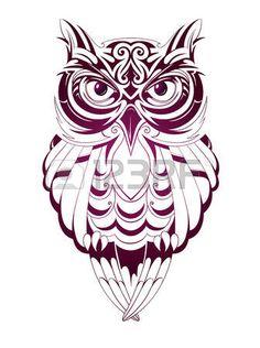 Ilustraci�n vectorial con el b�ho tatuaje aislado en blanco photo